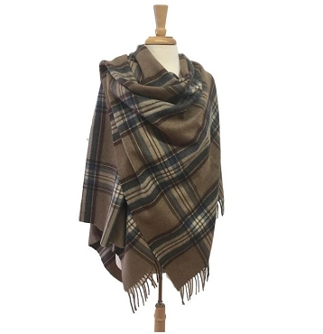 Ingleborough Camel Tartan Mini Ruana - 100% Merino Lambswool